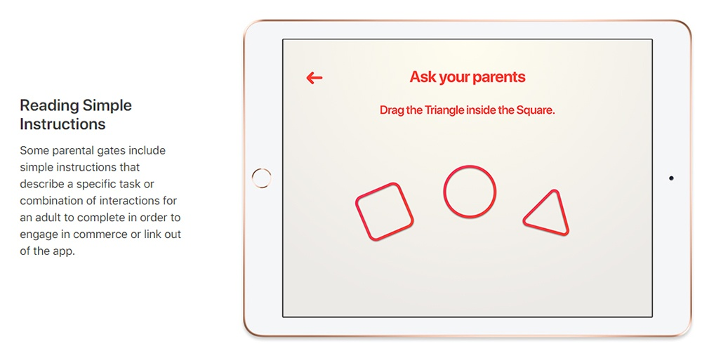 Apple Parental Gates example of simple instructions - COPPA