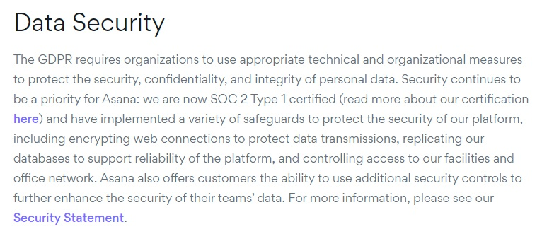 Asana Privacy Policy: Data Security clause - GDPR