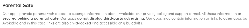 Avokiddo Privacy Policy: Parental Gate clause for COPPA