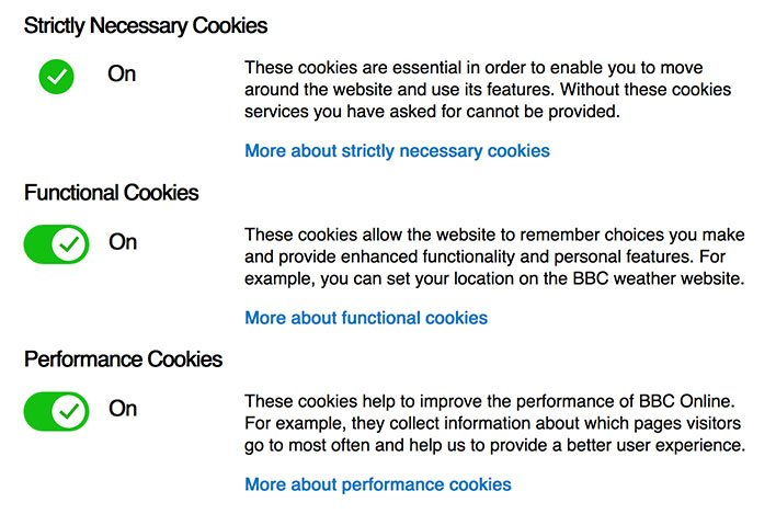 BBC's page for changing cookies settings with toggle choices