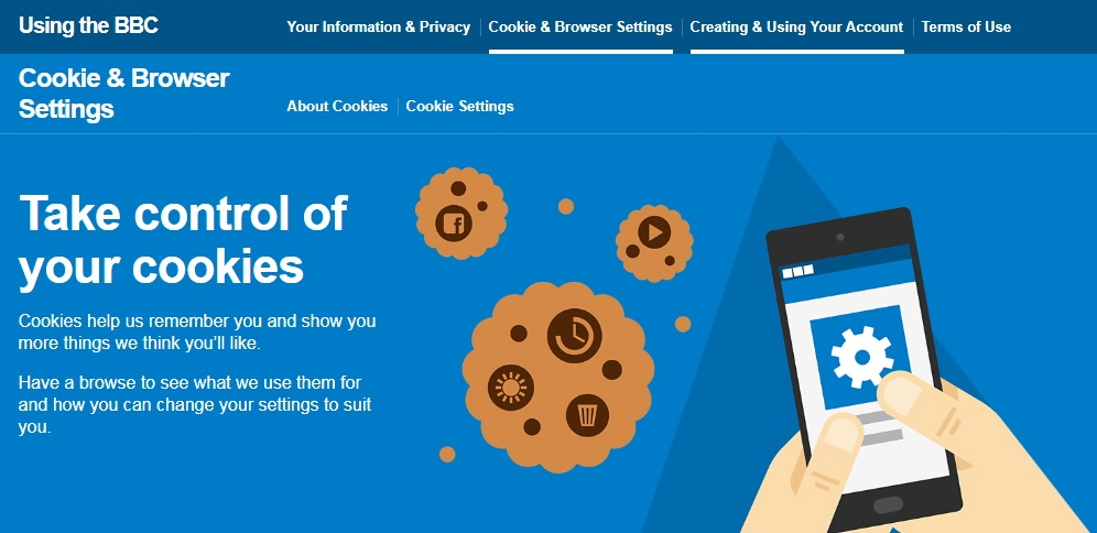 BBC's Cookie and Browser settings control page