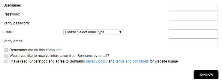 Bonhams account registration form