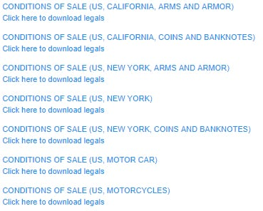 List of USA versions of Bonham's Conditions of Sale agreements