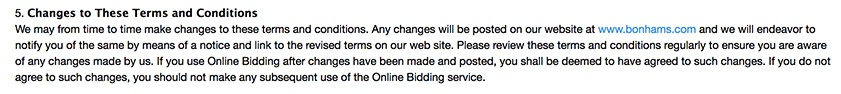 Bonhams Online Bidding Terms and Conditions: Changes or updates clause