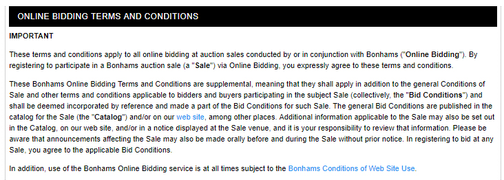 Bonhams Online Bidding Terms and Conditions: Intro clause