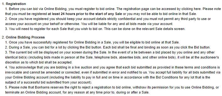 Bonhams Online Bidding Terms and Conditions: Registration and Online Bidding Process clauses