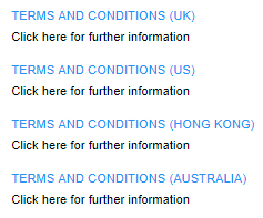 List of international versions of Bonham's Terms and Conditions