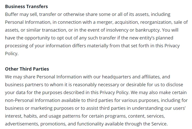 Buffer Privacy Policy: Business Transfers and Other Third Parties clauses