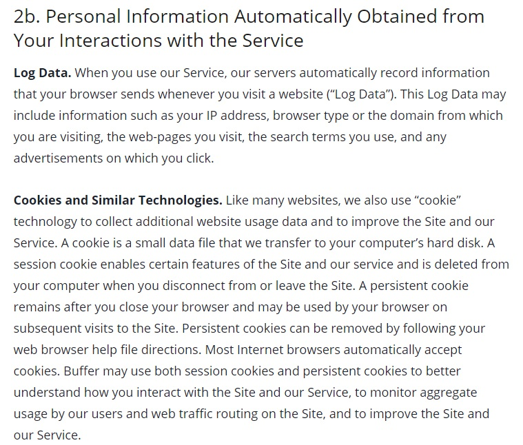 Buffer Privacy Policy: Excerpt of Personal Information Automatically Obtained from Your Interactions with the Service clause - Log Data and Cookies