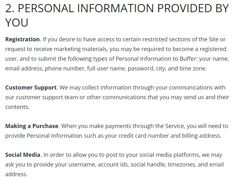 Buffer Privacy Policy: Excerpt of Personal Information Provided by You clause