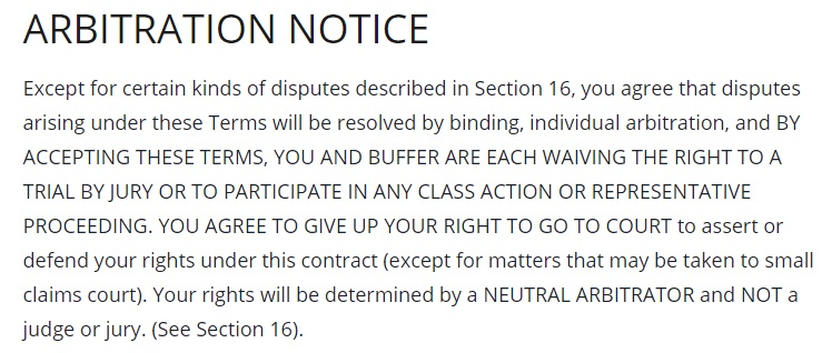 Buffer Terms of Use: Arbitration Notice clause