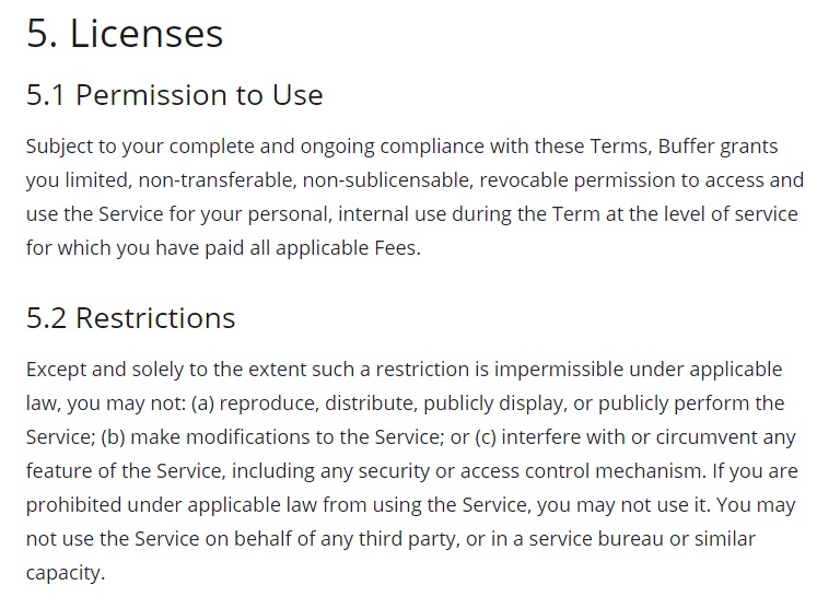 Buffer Terms of Use: Licenses - Permissions and Restrictions to Use clauses