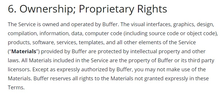 Buffer Terms of Use: Ownership Proprietary Rights clause