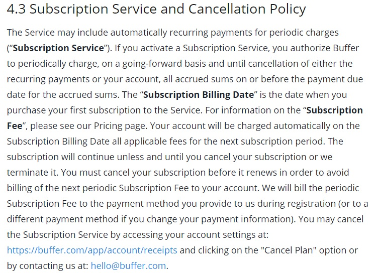 Buffer Terms of Use: Subscription Service and Cancellation Policy clause