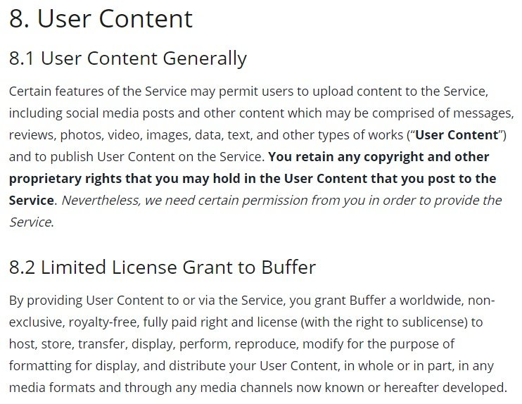 Buffer Terms of Use: User Content - Generally and Limited License Grant to Buffer clause excerpt