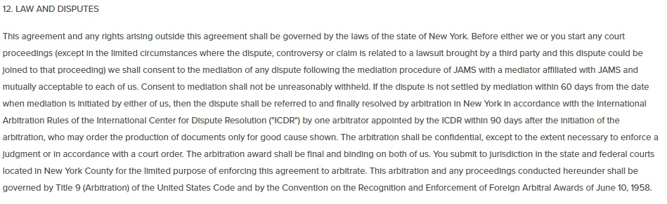 Christie's Terms and Conditions: Law and Disputes clause