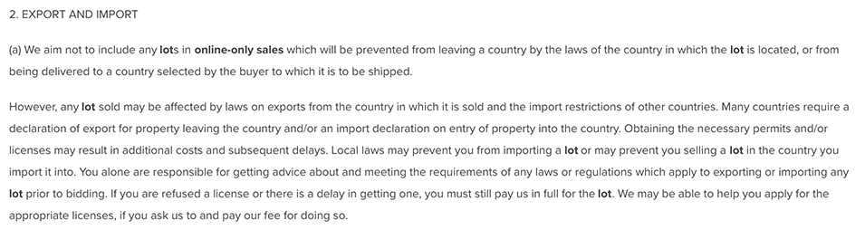 Christie's Terms and Conditions: Export and Import clause