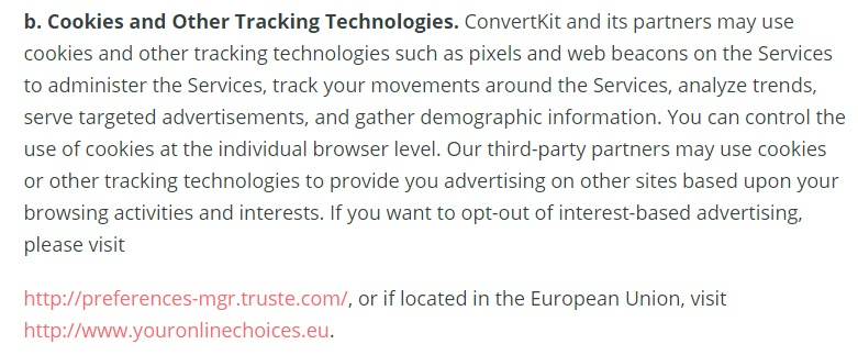 ConvertKit Privacy Policy: Cookies and Other Tracking Technologies clause with links for changing preferences