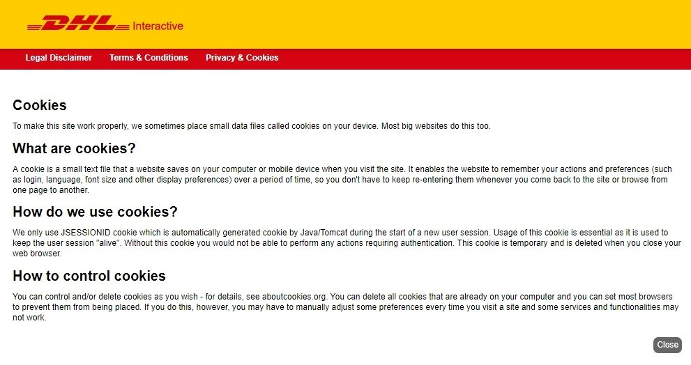 Screenshot of DHL Interactive's complete and simple cookie policy
