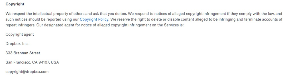 Dropbox Terms of Service: Copyright clause
