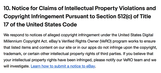 eBay User Agreement: Claims of Copyright Infringement clause