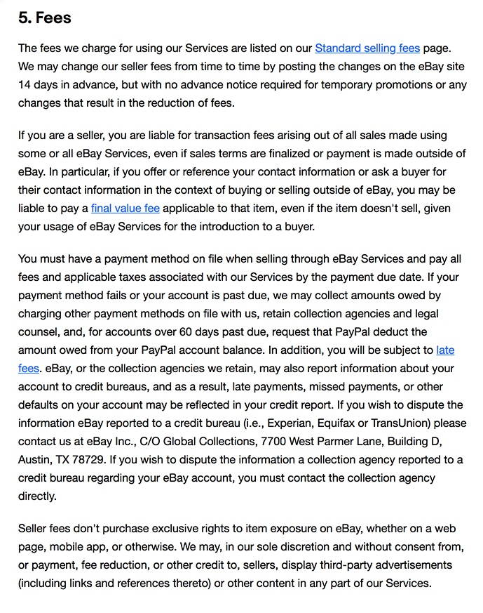 eBay User Agreement: Fees clause