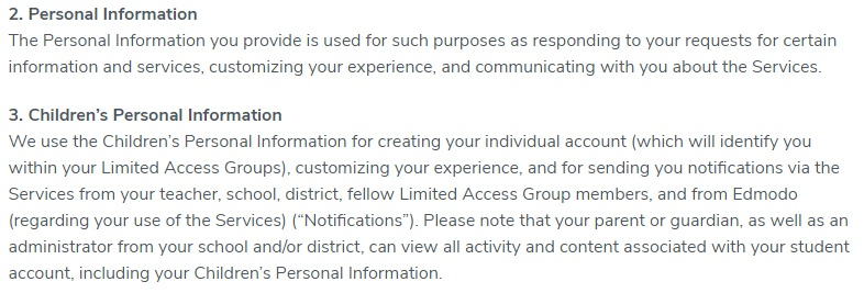 Edmondo Privacy Policy: Children's Personal Information clause for COPPA