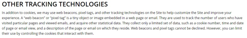 Ever Accountable Cookie Policy: Other Tracking Technologies clause