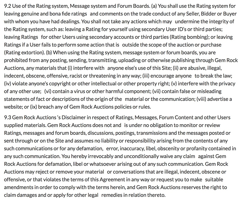 Gem Rock Auctions Terms of Use: Rating system, Message system and Forum Boards clause with disclaimer clause