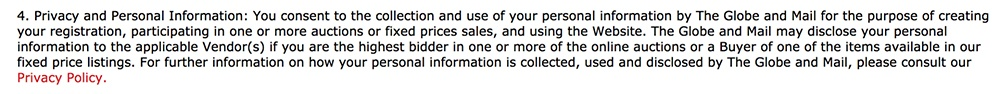 Globe Auction Terms and Conditions: Privacy and Personal Information clause