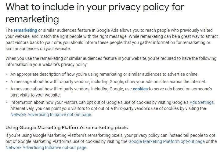Google Ads Help: What to include in your privacy policy for remarketing