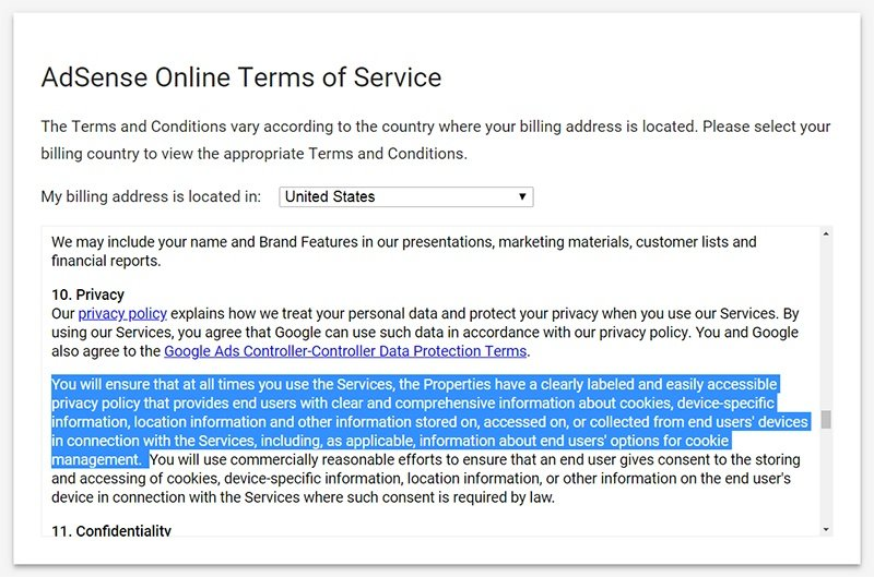 Google AdSense Online Terms of Service US version with Privacy clause highlighted