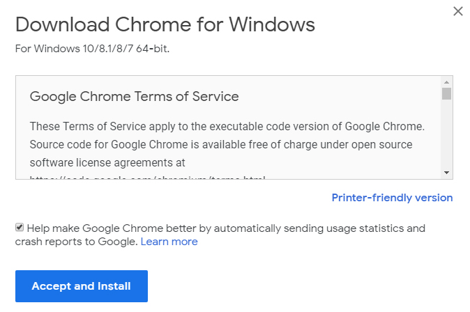 Google Chrome download Accept and Install page with checkbox to send usage statistics