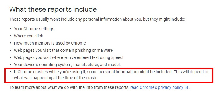 Google Chrome Help: What reports for automatically reporting errors and crashes includes - Personal data highlighted
