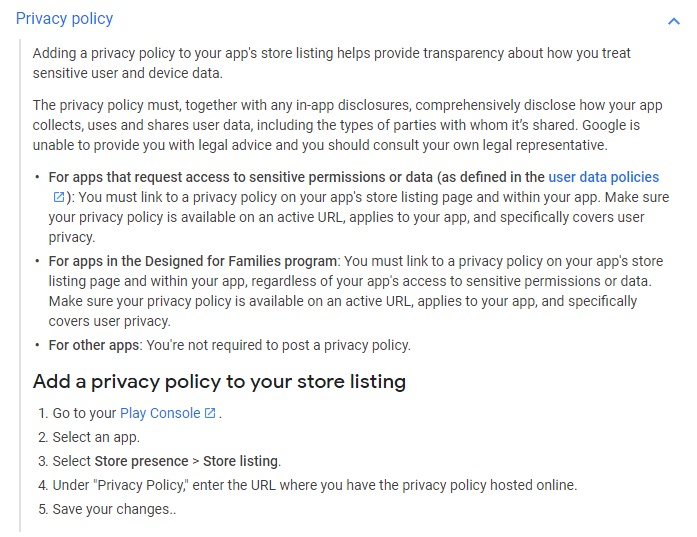 Google Play Console Help: Privacy Policy section