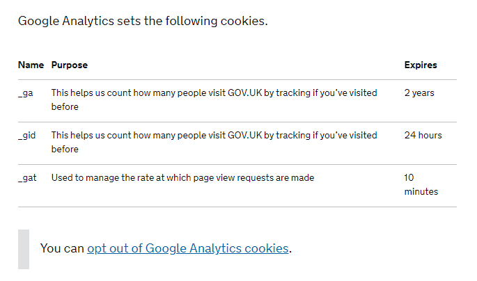 Gov UK Cookies Policy: Google Analytics clause