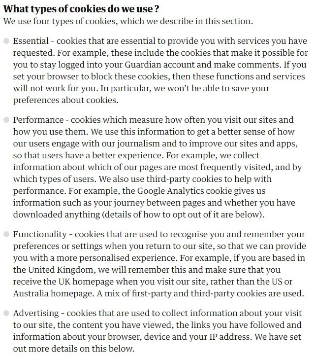 The Guardian Cookies Policy: What types of cookies do we use clause