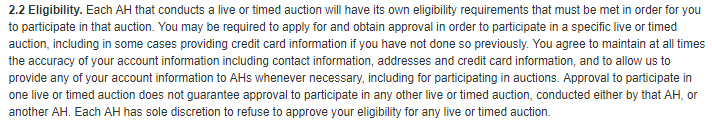 Invaluable's auction Terms of Use: Eligibility clause