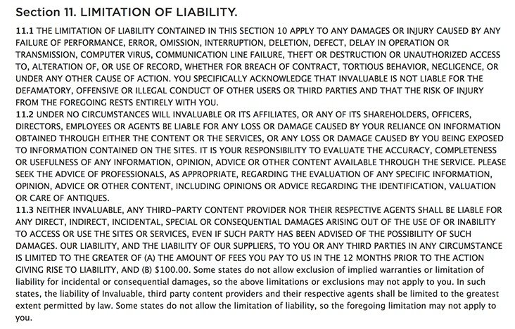 Invaluable's Terms of Use: Limitation of Liability clause