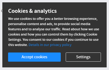 Janitza Cookies and Analytics notice with Accept cookies and Settings buttons