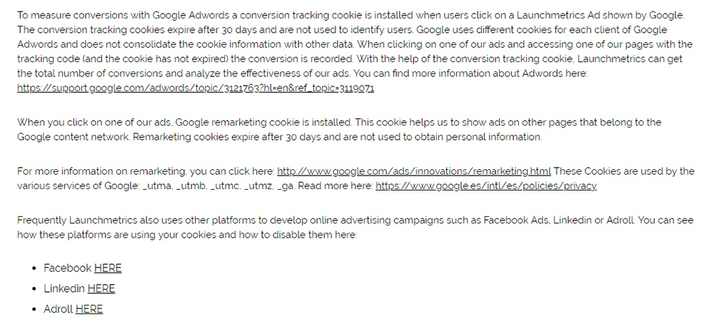 Launchmetrics Cookie Policy: Google Adwords remarketing and cookies clause