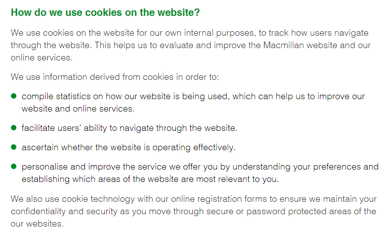 Macmillan's How we use cookies: How do we use cookies on the website clause