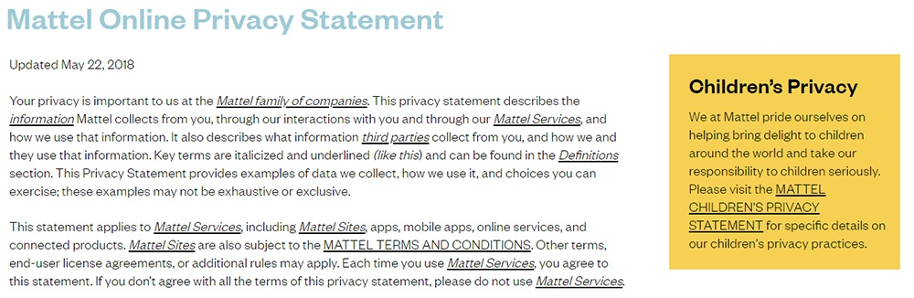 Matel Privacy Policy with notice of Children's Privacy Statement