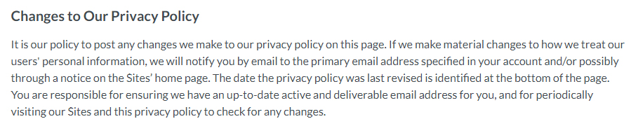 Moz Privacy Policy: Changes to Our Privacy Policy clause for updates