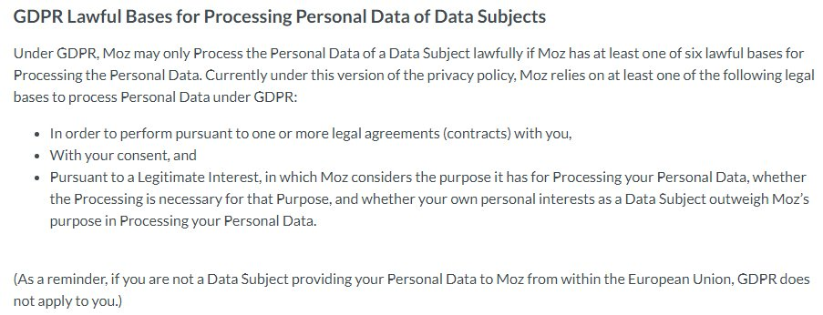 Moz Privacy Policy: GDPR Lawful Bases for Prcessing Personal Data of Data Subjects clause