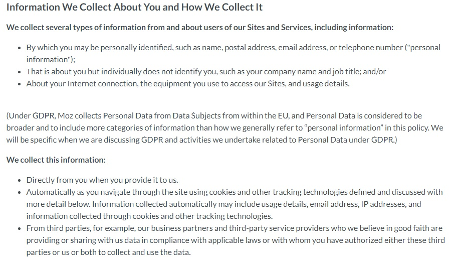 Moz Privacy Policy: Excerpt of Information We Collect About You and How We Collect it clause with GDPR