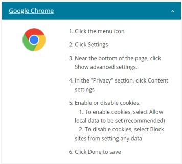 Pearson Cookie Policy: Instructions to check if cookies are enabled on Google Chrome