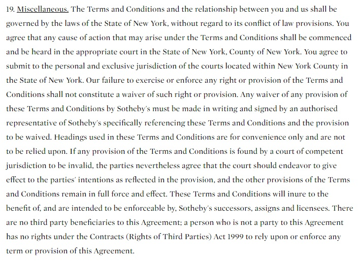 Sotheby's Terms and Conditions: Miscellaneous clause