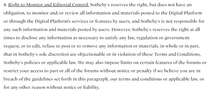 Sotheby's Terms and Conditions: Right to Monitor and Editorial Control clause