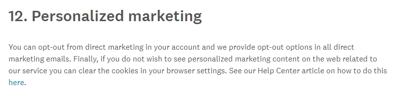 SurveyMonkey Privacy Policy: Personalized marketing clause with out-out information